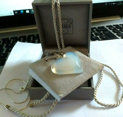 Lalique  Pendant Stunning Opalescent Heart & 18   925 Silver Chain Hues Of Blue • 175£