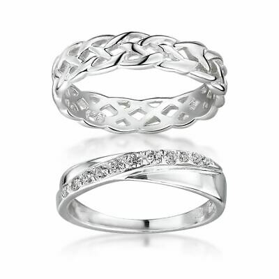 Amberta Sterling Silver Ring For Women Eternity And Crossover Band With Zirconia • 12.29£