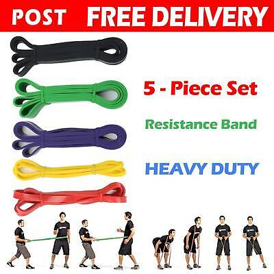 AU42.99 • Buy Set Of 5 Heavy Duty Resistance Band Loop Power Gym Fitness Exercise Yoga Workout