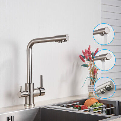 2 Lever Kitchen Tap With Water Filter Way Drinking Water  Kitchen Sink Tap 360° • 49£