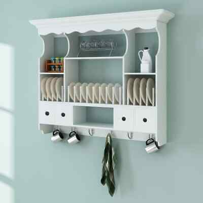 Wall Dish Rack White Wooden Kitchen Display Cabinet Mounted Plate Holder Drainer • 120.77£