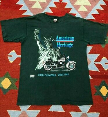 $ CDN46.67 • Buy Vintage 90s Harley Davidson T Shirt Funwear Statue Of Liberty Single Stitch L