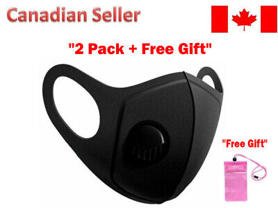 $ CDN6.50 • Buy Washable Reusable Breathable Stretchy Face Mask Mouth Breathing Valve - 2 Pack