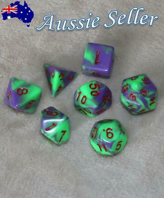 AU10.98 • Buy Dungeons & Dragons Polyhedral Purple/Green/Red 7 Piece Pearl Dnd Dice Set RPG