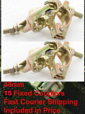 £49.99 • Buy 15 X FCO Scaffolding Scaffold Fittings FIXED DOUBLE Couplers Clamps FAST POST