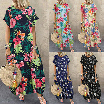 AU16.59 • Buy ZANZEA Women Summer Floral Sundress Beach Club Party Evening Long Maxi Dress