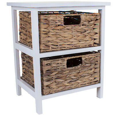 2 Wicker Drawers Chest Unit Bedside Table Bathroom Storage Wooden Basket Home  • 39.99£