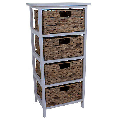 4 Wicker Drawers Chest Unit Bedside Table Bathroom Storage Wooden Basket Home  • 59.99£