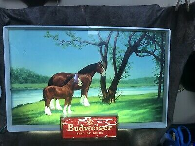 $ CDN301.09 • Buy Vintage Illuminated Budweiser Sign Item#182. Beautiful Scenic View. Clydesdales!