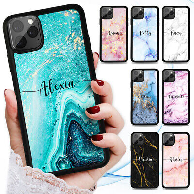 AU9.99 • Buy Personalised Name Marble Case Cover For IPhone 12 11 Pro Max 8 7 6 Plus X XR SE