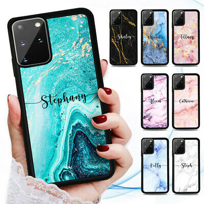 AU9.99 • Buy Personalised Name Marble Case Cover For Samsung S21 S20 FE S10 S9 S8 Plus Ultra