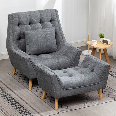 £139.95 • Buy Nordic Lazy Sofa Armchair Fireside Chaise Lounge Cuddle Chair Deep Button Stool