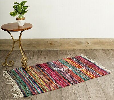 £11.99 • Buy Handmade Indian Chindi Rag Rug 100% Recycled Cotton Small Woven Floor Mat 2X3 FT