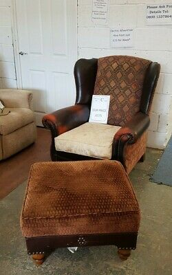 Tetrad Leather Classic Vintage Wing Back Fireside Chair And Foot Stool • 175£