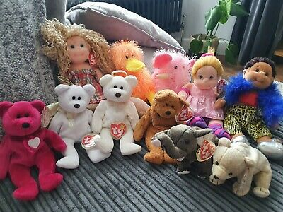 Ty Beanie Babies Bundle With RARE Valentino And Halo/Halo II Brown Nose  • 400£