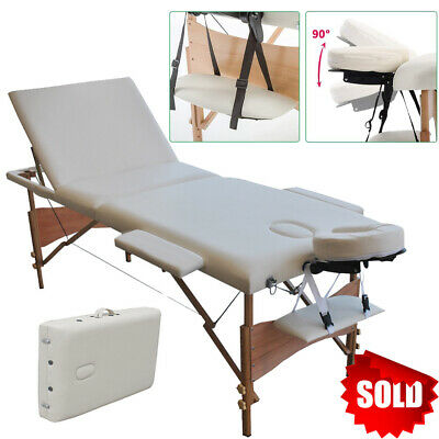 Adjustable Portable Massage Bed Table Therapy Couch Beige Salon Folding Beauty • 68.99£