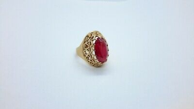 £323.35 • Buy Russian 14K Rose Gold Ruby Spinel Filigree Ring, Size 8.  .583