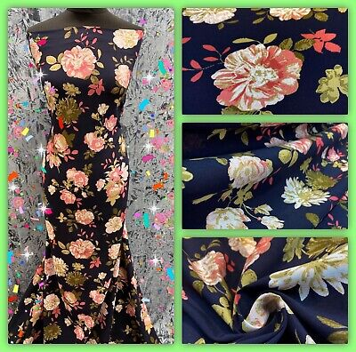 Soft Cotton Poly Viscose Floral Printed Dress Fabric, Skirts Blouse Metre Price • 5.50£