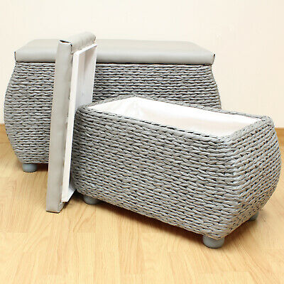 Pair Of Grey Storage Trunks/Benches Woven Blanket Box/Stool Bedding Toy Chest • 59.99£