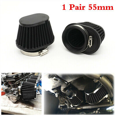 £14.30 • Buy 2Pcs 55mm High Airflow Motorcycle Air Filter Engine Intake Dust Cleaner Pod Cone
