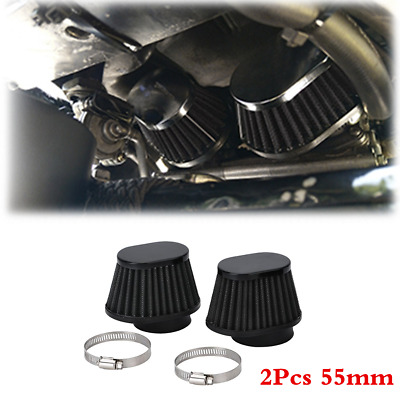 £14.30 • Buy 2x 55mm Clamp-On High Flow Cone Motorcycle Air Filter Replacement Parts Black