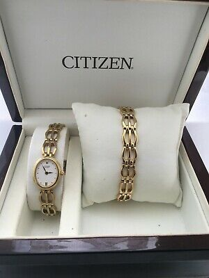 Citizen Women's Quartz Analogue  Gold Plated Bracelet Watch Set 5920-K001120 • 62.10£