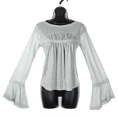 $ CDN27.96 • Buy ANTHROPOLOGIE Current Air Bell Sleeve Flowy Sheer Blouse Women's Small Silver