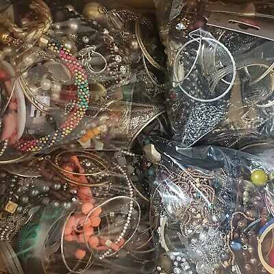2KG Job Lot Mixed Costume Jewellery Bundle Craft Beads Re-Sell Upcycle FREE P&P • 21.99£