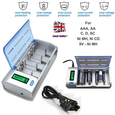 EBL LCD Smart Battery Charger For AA AAA C D 9V NiMH NiCD Rechargeable Batteries • 15.99£