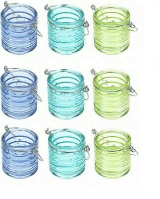 Hanging Glass Tea Light Holders - Set Of 9 Small Candle Lanterns - Blue Green  • 19.99£