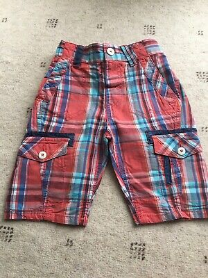 Boys Next Red & Blue Checked Shorts Size 5 Years • 5.50£