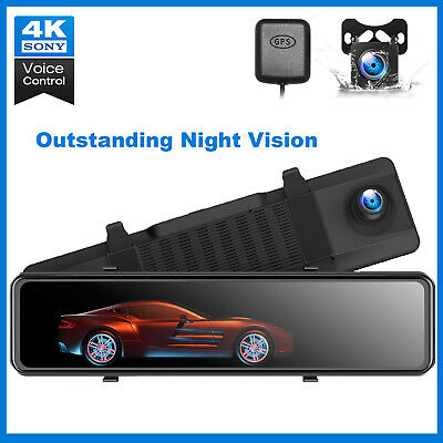 AU202.31 • Buy 4K Mirror Dash Cam Backup Camera For Cars Voice Control GPS Tracking