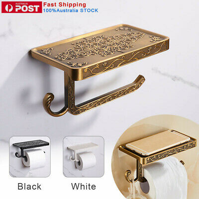 AU22.39 • Buy Toilet Paper Towel Holder Stand Wall Tissue Mounted Bathroom Roll Shelf Black