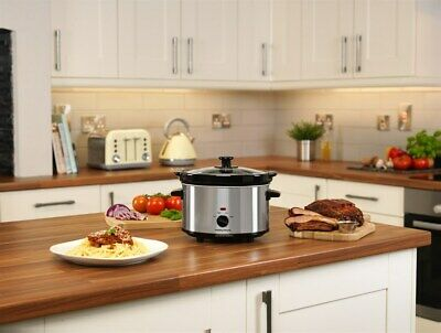 Ceramic Slow Cooker 2.5L Silver 3-Settings Removable Pot Safe Cool-touch Handles • 25.99£