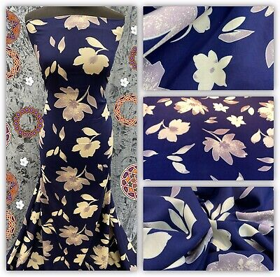 🌸Soft Poly Viscose Floral Printed Dress Fabric, Skirts Blouse Metre Price • 5.50£