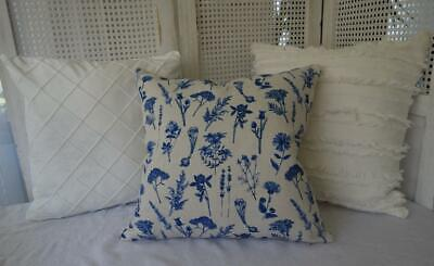 AU19.80 • Buy Mix & Match Petite Blue Flowers White Coastal Fringe Hamptons Cushion Cover