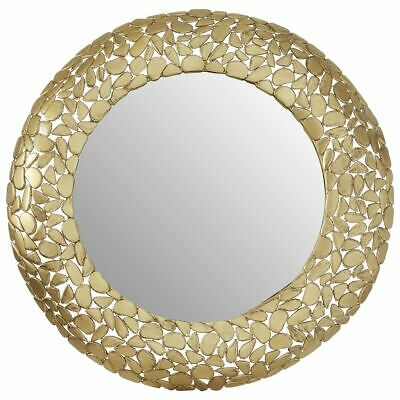 Premier Housewares Templar Wall Mirror With Pebble Effect - Brass Finish • 189.99£
