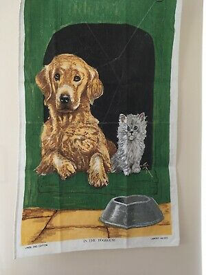 Vintage Retro Tea Towel In The Doghouse Linen Cotton Lamont Collectable New • 7.50£