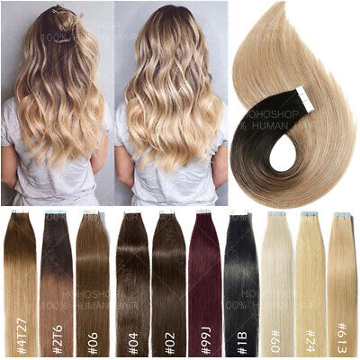 £17.73 • Buy 10-60PCS THICK Tape In Russian 100% Remy Human Hair Extensions Skin Weft Ombre