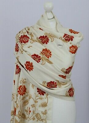 £24.95 • Buy UK Indian Winter Hand Embroidered Shawl Stole Scarf Kashmir Wool Gifts 3 Colours