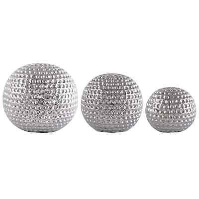 New Set Of 3 Ceramic Dimpled Spheres Ornament Different Sizes Home Decor -Silver • 18.98£