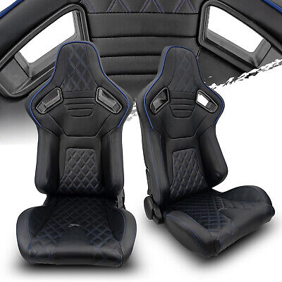 $330.50 • Buy Black PVC Leather/Black Stitch Left/Right Recaro Style Racing Seats Pair
