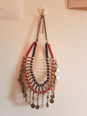 £17 • Buy Boho Indie Statement Gold/Red/Blue Coin Necklace