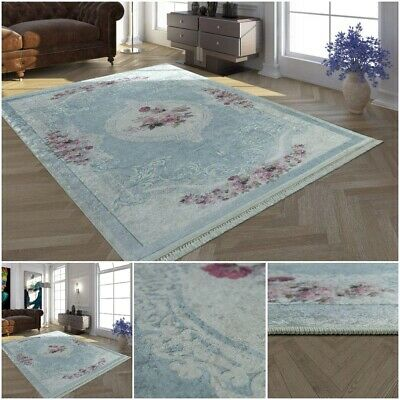 Pink Blue Low Pile Carpet Trendy Pattern Living Area Hallway Rug Home Highlight • 109.99£
