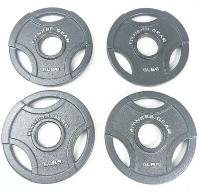 """$ CDN105.82 • Buy Fitness Gear 4 X 5 Lb New Olympic 2"""" Weight Plates 20 Pounds LBS Total Iron"""