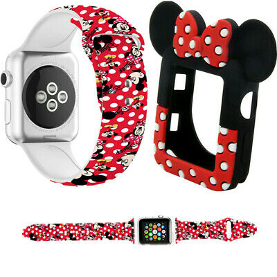 $ CDN9.32 • Buy For Apple Watch 5 4 Minnie Strap Case Mickey Mouse Ear Band Strap Series 3 2 1