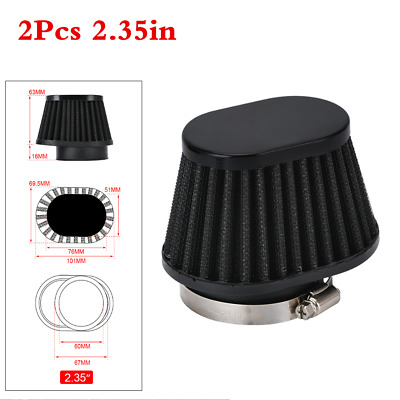 £14.30 • Buy 2Pcs 60mm Induction Intake High Flow Cone Air Filter For Motorcycle ATV Scooter