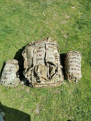 Army Infantry Bergen Rucksack MTP Camo 120Lt Short Back With Side Pouches & Yoke • 50£