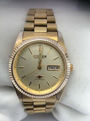 Citizen Men's Automatic 21Jewels Day/Date Automatic Gold Plated Bracelet Watch • 89£