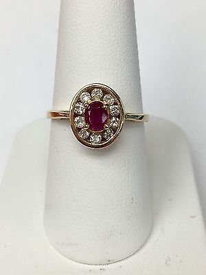 £283.22 • Buy 14K Yellow Gold Ruby Cocktail Ring Diamond Halo Size 7
